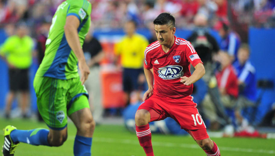 FRISCO, TX - APRIL 12:  Mauro Diaz #10 of the FC Dallas controls the ball against the Seattle Sounders FC on April 12, 2014 at Toyota Stadium in Frisco, Texas.  (Photo by Cooper Neill/Getty Images)