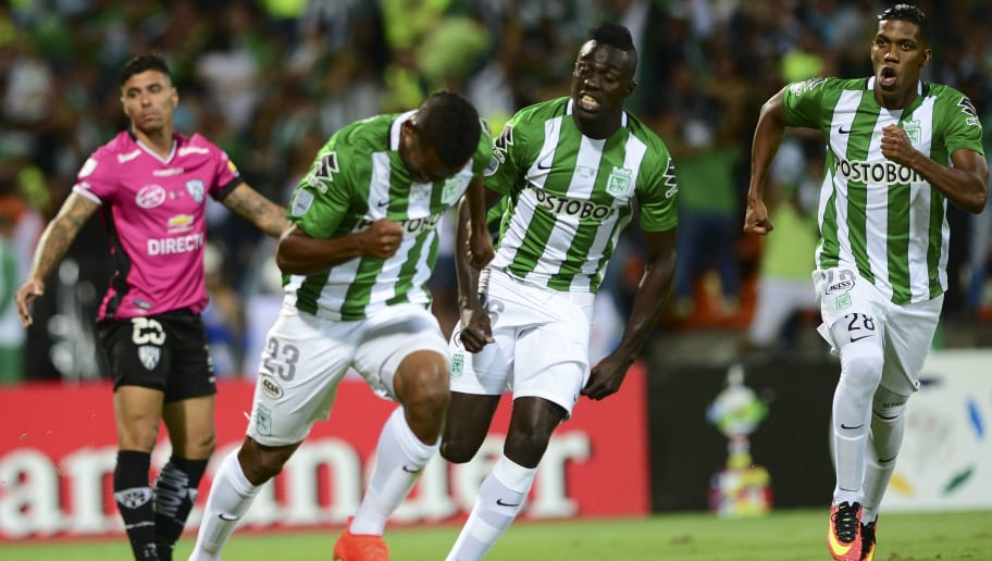 Colombia's Atletico Nacional player MIguel Borja (C), celebrates after scoring against Ecuador's Independiente del Valle, during their 2016 Copa Libertadores final football match at Atanasio Girardot stadium, in Medellin, Antioquia department, Colombia, on July 27, 2016. / AFP / RAUL ARBOLEDA        (Photo credit should read RAUL ARBOLEDA/AFP/Getty Images)