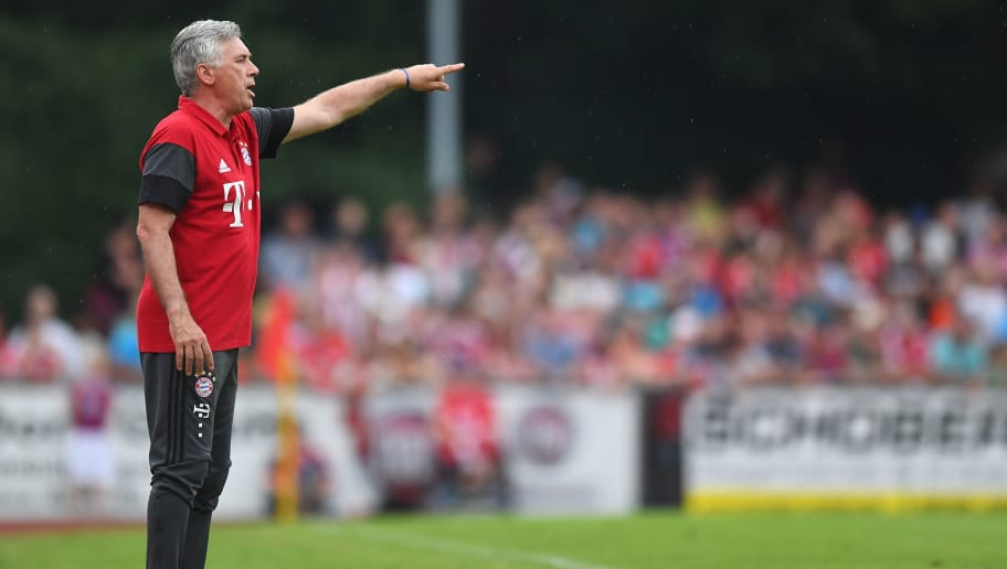 LANDSHUT, GERMANY - JULY 23:  Carlo Ancelotti, head coach of Bayern Muenchen reacts during the pre-season friendly match between SpVgg Landshut and FC Bayern Muenchen at ebm-Papst Stadion on July 23, 2016 in Landshut, Germany.  (Photo by Lennart Preiss/Bongarts/Getty Images)
