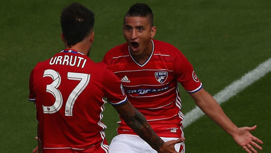 FRISCO, TX - MARCH 06:  Maximiliano Urruti #37 of FC Dallas celebrates his goal with Mauro Diaz #10 against the Philadelphia Union in the second half during the MLS opening game at Toyota Stadium on March 6, 2016 in Frisco, Texas.  (Photo by Ronald Martinez/Getty Images)