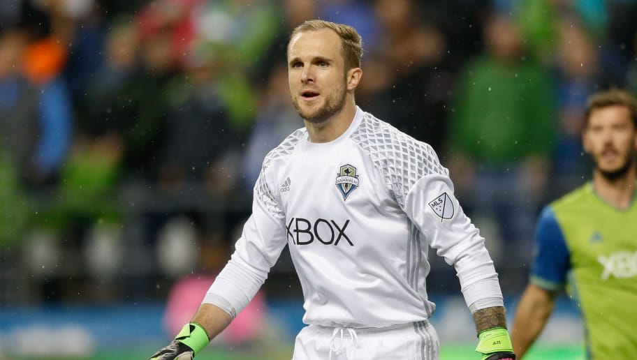 SEATTLE, WA - MARCH 06:  Goalkeeper Stefan Frei #24 of the Seattle Sounders FC looks on during the match against Sporting Kansas City at CenturyLink Field on March 6, 2016 in Seattle, Washington.  (Photo by Otto Greule Jr/Getty Images)