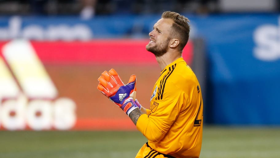 SEATTLE, WA - MARCH 08:  Goalkeeper Stefan Frei #24 of the Seattle Sounders FC reacts during the match against the New England Revolution at CenturyLink Field on March 8, 2015 in Seattle, Washington. The Sounders defeated the Revolution 3-0.  (Photo by Otto Greule Jr/Getty Images)