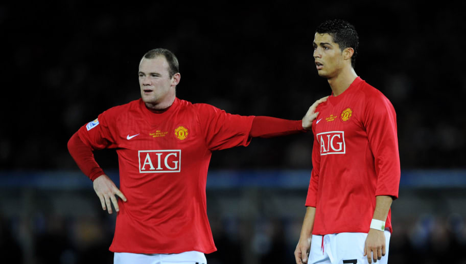 YOKOHAMA, JAPAN - DECEMBER 21:  Wayne Rooney of Manchester United with team-mate Cristiano Ronaldo during the FIFA Club World Cup Japan 2008 Final match between Manchester United and Liga De Quito at the International Stadium Yokohama on December 21, 2008 in Yokohama, Kanagawa, Japan.  (Photo by Shaun Botterill/Getty Images)