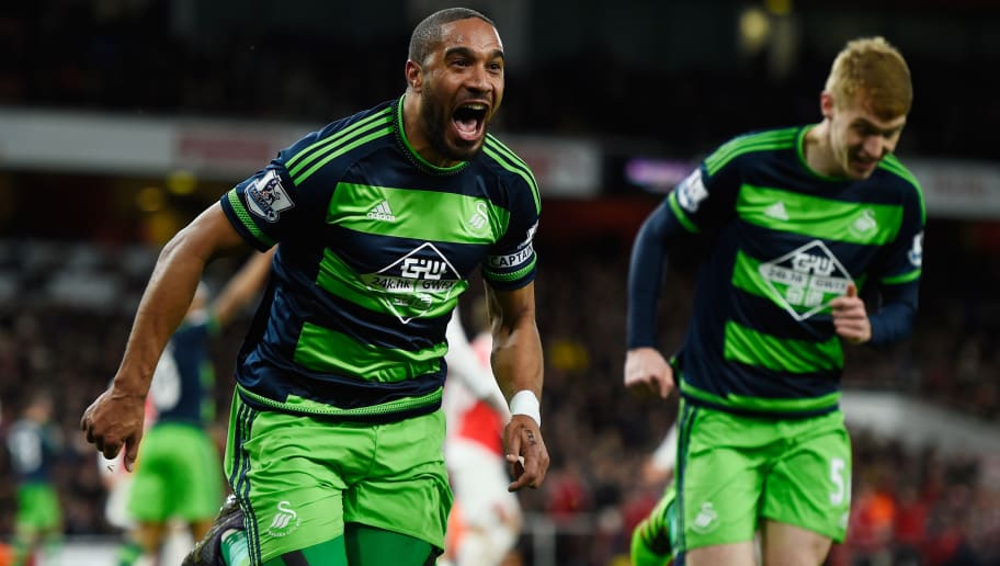 LONDON, ENGLAND - MARCH 02:  Ashley Williams of Swansea City (c) celebrates scoring his sides second goal during the Barclays Premier League match between Arsenal and Swansea City at the Emirates Stadium on March 2, 2016 in London, England.  (Photo by Mike Hewitt/Getty Images)