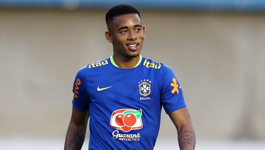 GOIANIA, BRAZIL - JULY 29:  Gabriel Jesus of Brazil in action during a training session ahead of the international friendly match between Japan and Brazil on July 29, 2016 in Goiania, Brazil.  (Photo by Koji Watanabe/Getty Images)