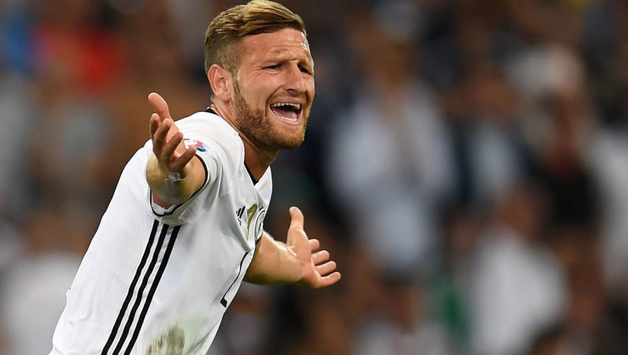 Germany's defender Shkodran Mustafi reacts during the Euro 2016 semi-final football match between Germany and France at the Stade Velodrome in Marseille on July 7, 2016.  / AFP / PATRIK STOLLARZ        (Photo credit should read PATRIK STOLLARZ/AFP/Getty Images)