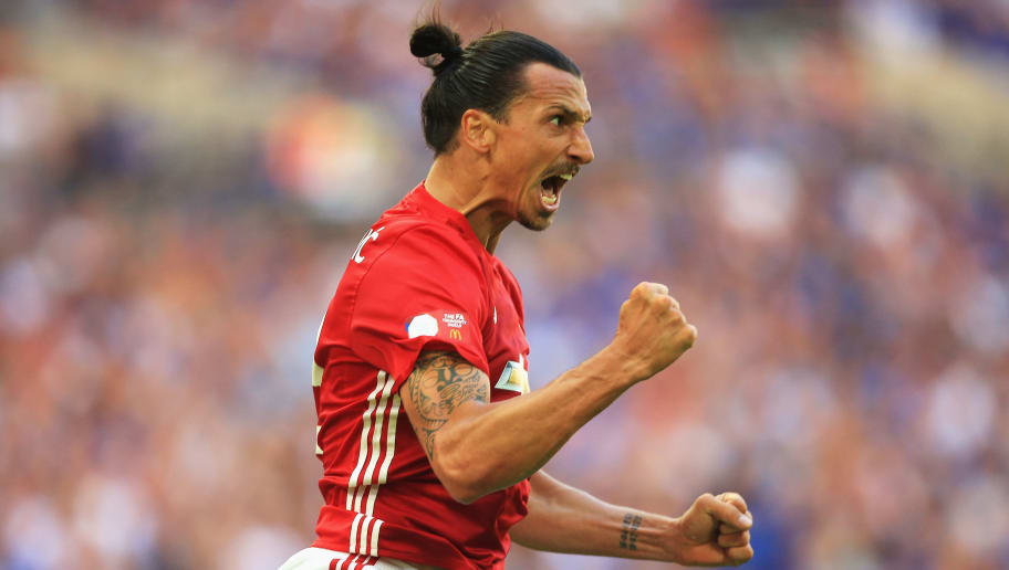 LONDON, ENGLAND - AUGUST 07: Zlatan Ibrahimovic of Manchester United celebrates after scoring his sides second goal during The FA Community Shield match between Leicester City and Manchester United at Wembley Stadium on August 7, 2016 in London, England.  (Photo by Ben Hoskins/Getty Images)