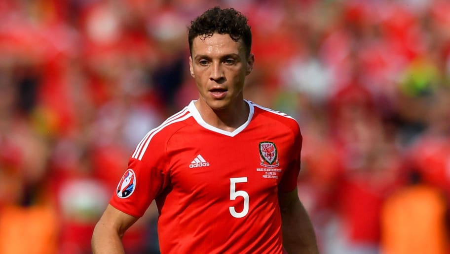 PARIS, FRANCE - JUNE 25:  Wales player James Chester in action during the Round of 16 UEFA Euro 2016 match between Wales and Northern Ireland at Parc des Princes on June 25, 2016 in Paris, France.  (Photo by Stu Forster/Getty Images)