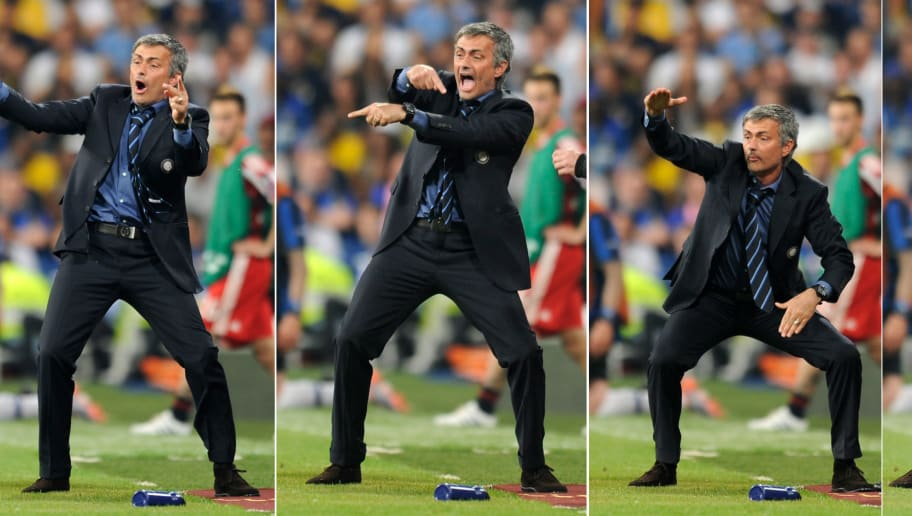A combo showing Inter Milan's Portuguese coach Jose Mourinho gesturing to his players during the UEFA Champions League final football match agaisnt Bayern Munich at the Santiago Bernabeu stadium in Madrid on May 22, 2010. Inter Milan won the Champions League with a 2-0 victory over Bayern Munich in the final at the Santiago Bernabeu. Argentine striker Diego Milito scored both goals for Jose Mourinho's team who completed a treble of trophies this season. AFP PHOTO / PEDRO ARMESTRE (Photo credit should read PEDRO ARMESTRE/AFP/Getty Images)
