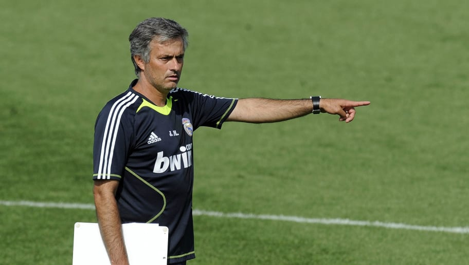 Real Madrid's new coach Jose Mourinho gestures during a training session at the Real Madrid sport city in Madrid on August 19, 2010. Mourinho has arrived from Inter Milan to spearhead their push for honours and must now seek to configure a team from one of the most talented collections of individual players in the game.  AFP PHOTO/DANI POZO (Photo credit should read DANI POZO/AFP/Getty Images)