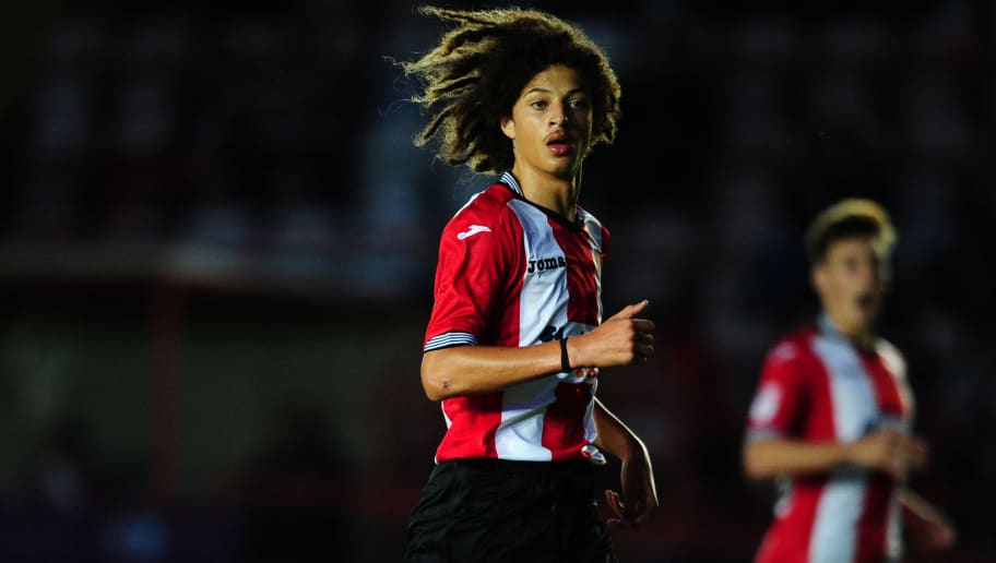 EXETER, UNITED KINGDOM - JULY 28: Ethan Ampadu of Exeter City during the Pre Season Friendly match between Exeter City and Cardiff City at St James Park on July 28, 2016 in Exeter, England. (Photo by Harry Trump/Getty Images)