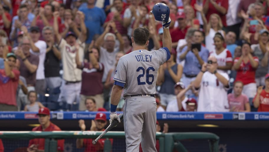 PHILADELPHIA, PA - AUGUST 16: Chase Utley #26 of the Los Angeles Dodgers tips his hat to the crowd prior to his at bat in the first inning against the Philadelphia Phillies at Citizens Bank Park on August 16, 2016 in Philadelphia, Pennsylvania. (Photo by Mitchell Leff/Getty Images)