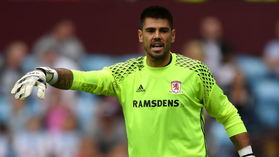 BIRMINGHAM, ENGLAND - JULY 30:  Middesbrough goalkeeper Victor Valdes in action during the pre- season friendly between Aston Villa and Middlesbrough at Villa Park on July 30, 2016 in Birmingham, England.  (Photo by Stu Forster/Getty Images)