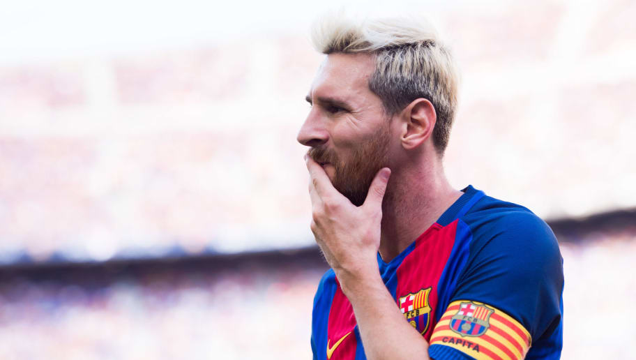 BARCELONA, SPAIN - AUGUST 20: Lionel Messi of FC Barcelona looks on during the La Liga match between FC Barcelona and Real Betis Balompie at Camp Nou on August 20, 2016 in Barcelona, Spain. (Photo by Alex Caparros/Getty Images)