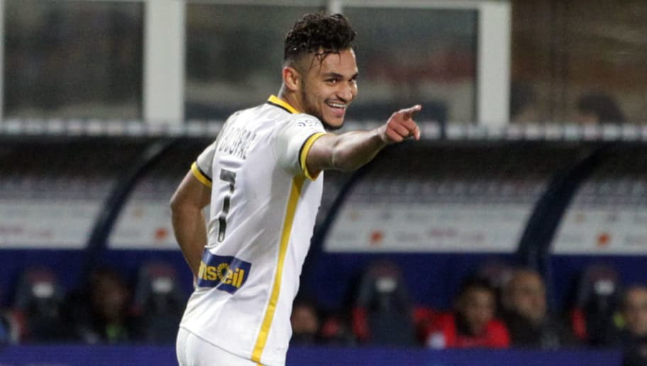 Lille's French midfielder Sofiane Boufal celebrates after scoring a goal during the French L1 football match Gazelec Ajaccio (GFCA) against Lille (LOSC) on April 16, 2016, at the Ange Casanova stadium in Ajaccio, on the French Mediterranean island of Corsica. AFP PHOTO / PASCAL POCHARD-CASABIANCA / AFP / PASCAL POCHARD-CASABIANCA        (Photo credit should read PASCAL POCHARD-CASABIANCA/AFP/Getty Images)