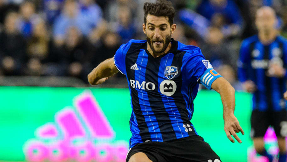 MONTREAL, QC - MARCH 12:  Ignacio Piatti #10 of the Montreal Impact controls the ball during the MLS game against the New York Red Bulls at the Olympic Stadium on March 12, 2016 in Montreal, Quebec, Canada.  The Montreal Impact defeated the New York Red Bulls 3-0.  (Photo by Minas Panagiotakis/Getty Images)