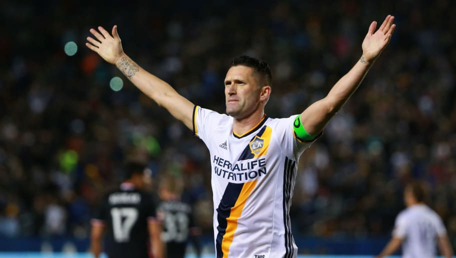 CARSON, CA - MARCH 06:  Robbie Keane #7 of Los Angeles Galaxy celebrates after scoring on a penalty kick in the second half of their MLS match against D.C. United at StubHub Center on March 6, 2016 in Carson, California. The Galaxy defeated United 4-1.  (Photo by Victor Decolongon/Getty Images)