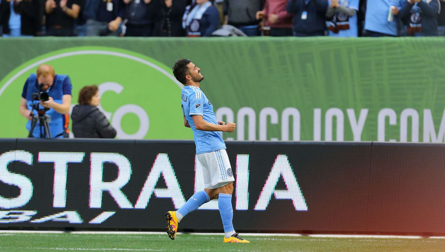 NEW YORK, NY - MARCH 13:  David Villa #7 of New York City FC celebrates his goal from the penalty spot against the Toronto FC at Yankee Stadium on March 13, 2016 in the Bronx borough of New York City.  (Photo by Mike Stobe/Getty Images)