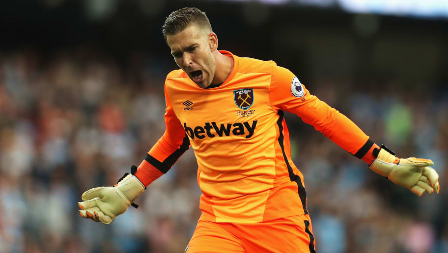 MANCHESTER, ENGLAND - AUGUST 28: Adrian of West Ham United celebrates the goal scored by Michail Antonio of West Ham United during the Premier League match between Manchester City and West Ham United at Etihad Stadium on August 28, 2016 in Manchester, England.  (Photo by Chris Brunskill/Getty Images)