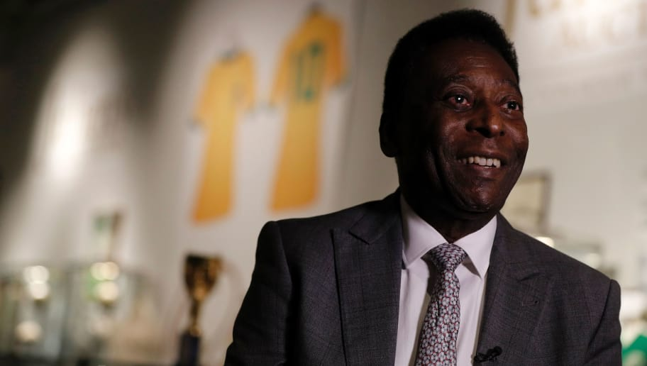Former Brazilian footballer Pele talks during an media interview at a preview for an auction of his memorabilia in London on June 1, 2016.   The three-time World Cup winner and FIFA Player of the Century is offering to auction his vast memorabilia collection including awards, personal property and iconic items from his entire career. The collection is being offered by Julien's Auction House on June 7, 8, 9 in London. / AFP / ADRIAN DENNIS        (Photo credit should read ADRIAN DENNIS/AFP/Getty Images)