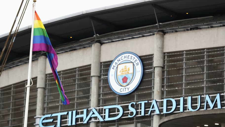 MANCHESTER, ENGLAND - AUGUST 28: A rainbow flag is displayed outside the ground prior to the Premier League match between Manchester City and West Ham United at Etihad Stadium on August 28, 2016 in Manchester, England.  (Photo by Chris Brunskill/Getty Images)