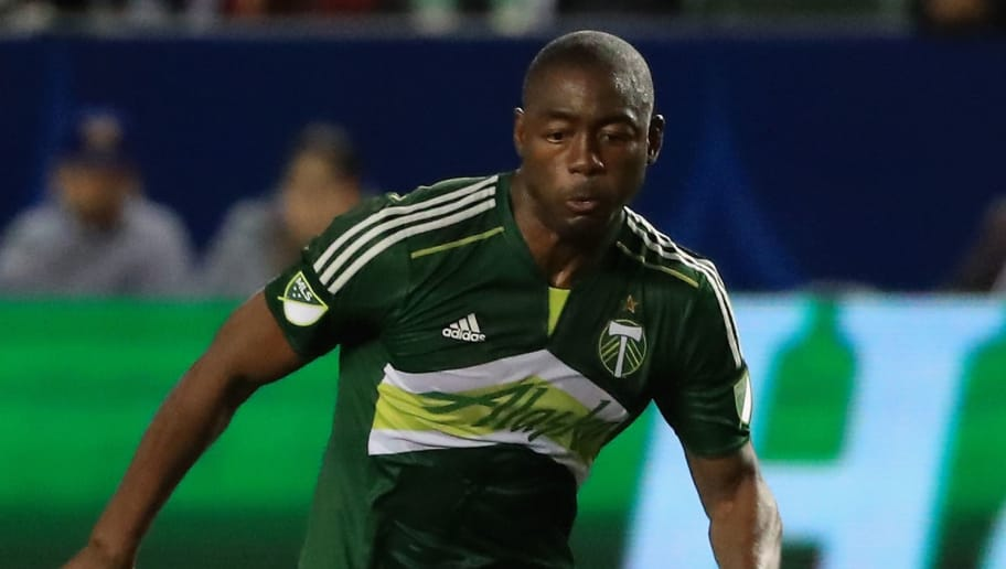 CARSON, CALIFORNIA - APRIL 10:  Fanendo Adi #9 of Portland Timbers against theLos Angeles Galaxy  during the first half of their MLS match at StubHub Center on April 10, 2016 in Carson, California.  (Photo by Sean M. Haffey/Getty Images)