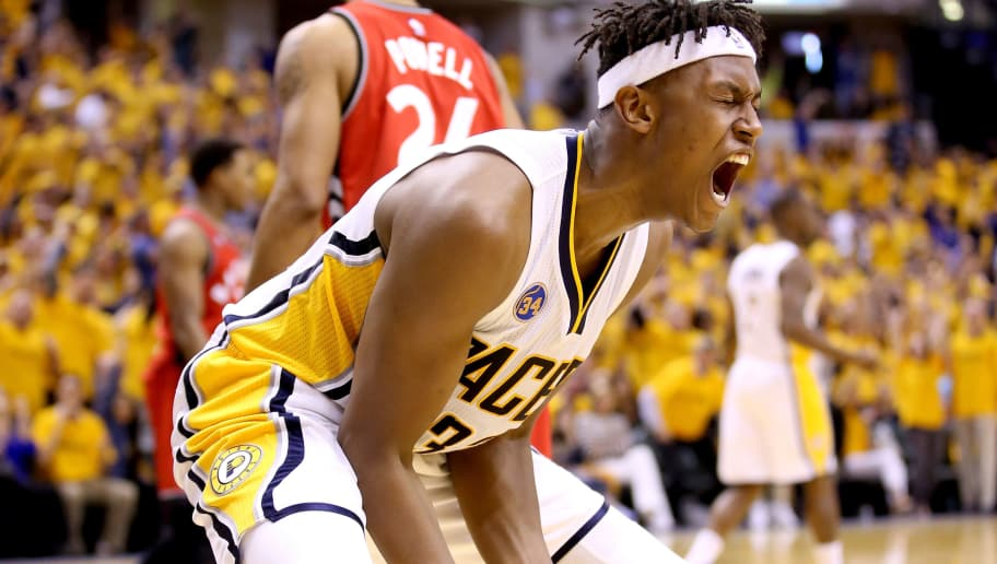 INDIANAPOLIS, IN - APRIL 29:  Myles Turner #33 of the Indiana Pacers celebrates during the 101-83 win over the Toronto Raptors in game six of the 2016 NBA Playoffs Eastern Conference Quarterfinals on April 29, 2016 in Indianapolis, Indiana.  NOTE TO USER: User expressly acknowledges and agrees that, by downloading and or using this photograph, User is consenting to the terms and conditions of the Getty Images License Agreement.  (Photo by Andy Lyons/Getty Images)