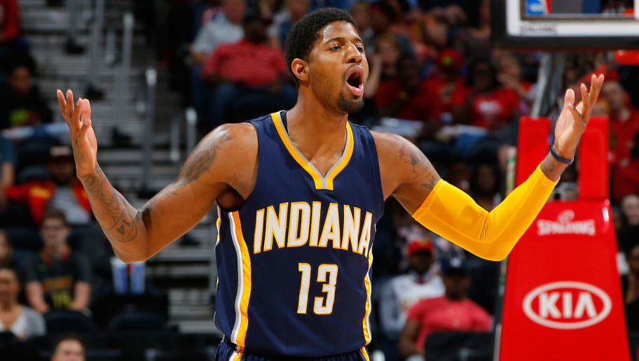 ATLANTA, GA - MARCH 13:  Paul George #13 of the Indiana Pacers reacts in the first half against the Atlanta Hawks at Philips Arena on March 13, 2016 in Atlanta, Georgia.  NOTE TO USER User expressly acknowledges and agrees that, by downloading and or using this photograph, user is consenting to the terms and conditions of the Getty Images License Agreement.  (Photo by Kevin C. Cox/Getty Images)