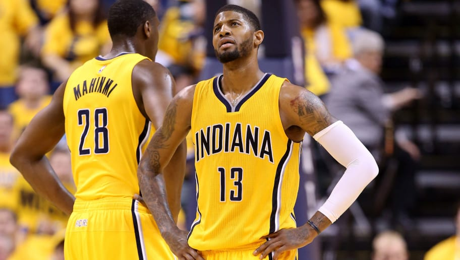 INDIANAPOLIS, IN - APRIL 21:  Paul George #13 of the Indiana Pacers reacts after a technical foul charged to the Pacers against the Toronto Raptors during game three of the 2016 NBA Eastern Conference Quarterfinal Playoffs at Bankers Life Fieldhouse on April 21, 2016 in Indianapolis, Indiana.   NOTE TO USER: User expressly acknowledges and agrees that, by downloading and or using this photograph, User is consenting to the terms and conditions of the Getty Images License Agreement.  (Photo by Andy Lyons/Getty Images)