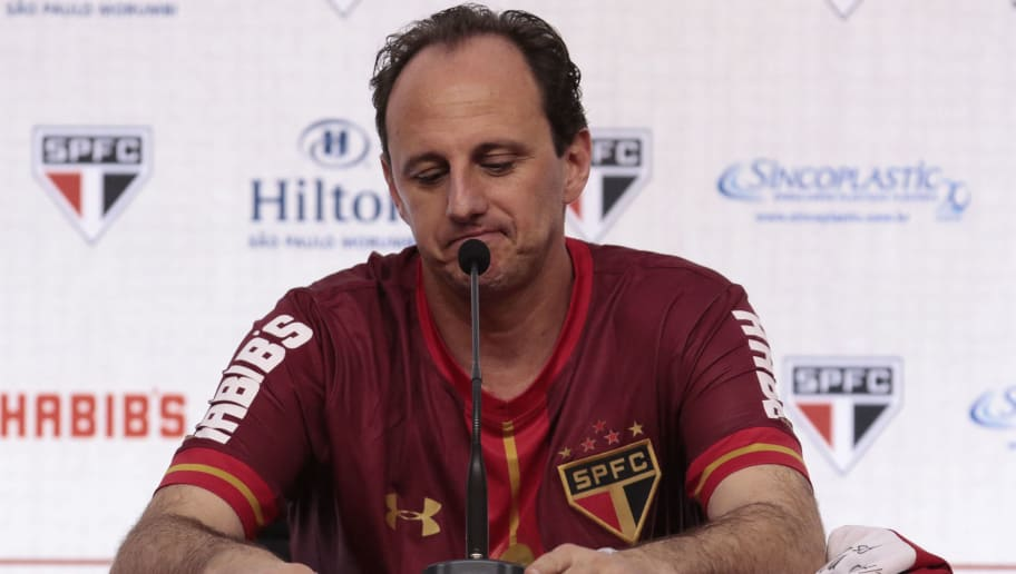 Goalkeeper Rogerio Ceni looks down during a press conference before a friendly match between 'Club World Cup football 1992-1993' and 'Club World Cup 2005' at Morumbi stadium in Sao Paulo, Brazil on December 11, 2015. Ceni (42) played his 25 year career in Sao Paulo FC, and as goalkeeper he scored 131 goals. AFP PHOTO/ MIGUEL SCHINCARIOL / AFP / Miguel Schincariol        (Photo credit should read MIGUEL SCHINCARIOL/AFP/Getty Images)