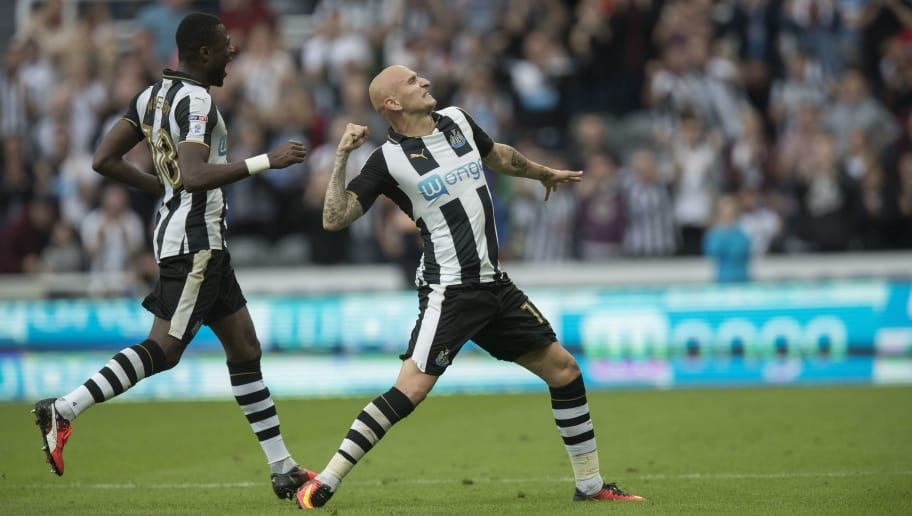 NEWCASTLE, ENGLAND - AUGUST 27: Jonjo Shelvey of Newcastle celebrates his goal during the Premier League match between Newcastle United and Brighton & Hove Albion on August 27, 2016 in Newcastle. (Photo by Steve  Welsh/Getty Images)