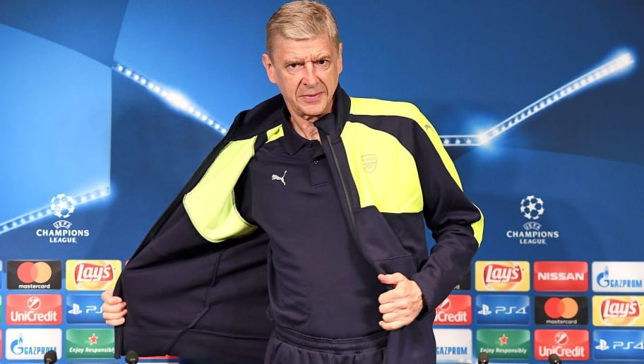 Arsenal's French manager Arsene Wenger arrives for a press conference on the eve of the team's UEFA Champions League football match against Paris Saint-Germain (PSG), on September 12, 2016 at the Parc des Princes stadium in Paris. / AFP / FRANCK FIFE        (Photo credit should read FRANCK FIFE/AFP/Getty Images)