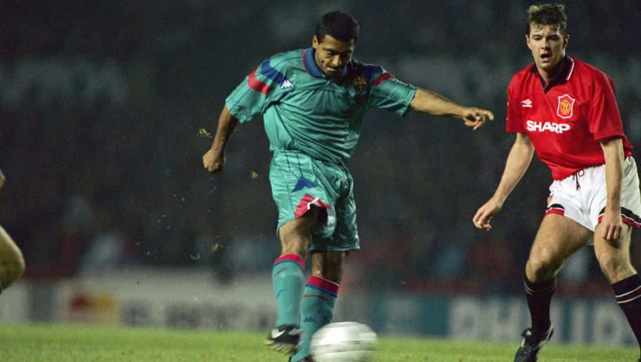 Brazilian striker Rom?rio de Souza Faria, known as Romario, playing for Spanish club FC Barcelona in a Champions League group stage match against Manchester United at Old Trafford, October 1994. (Photo by Chris Cole/Getty Images)