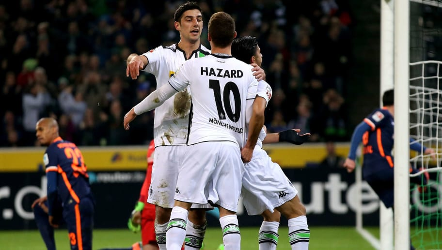 MOENCHENGLADBACH, GERMANY - FEBRUARY 05:  Lars Stindl of Moenchengladbach celebrates with Thorgan Hazard of Moenchengladbach after scoring his teams first goal during the Bundesliga match between Borussia Moenchengladbach and Werder Bremen at Borussia-Park on February 5, 2016 in Moenchengladbach, Germany.  (Photo by Lars Baron/Bongarts/Getty Images)