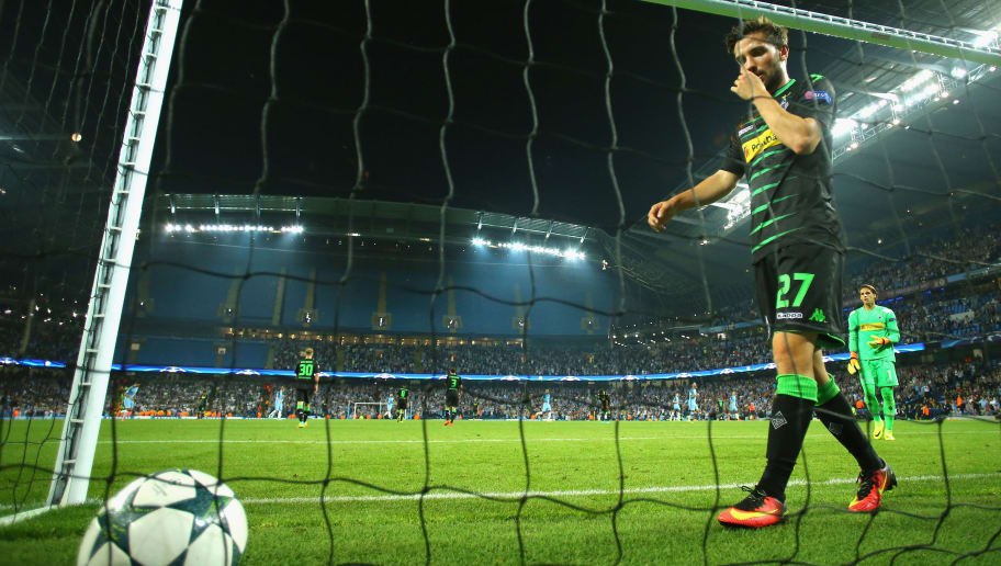 MANCHESTER, ENGLAND - SEPTEMBER 14: Julian Korb of Borussia Moenchengladbach picks the ball out from the back of the net during the UEFA Champions League match between Manchester City FC and VfL Borussia Moenchengladbach at Etihad Stadium on September 14, 2016 in Manchester, England.  (Photo by Richard Heathcote/Getty Images)