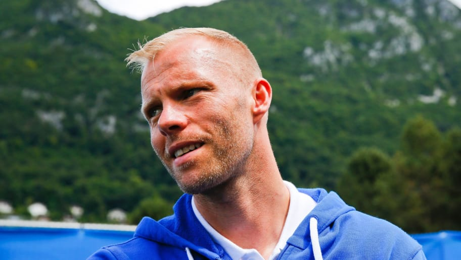 Iceland's forward Eidur Gudjohnsen speaks with the media at Iceland's Euro 2016 training ground, the d'Albigny sports center in Annecy le Vieux, south west France, on June 19, 2016. / AFP / Odd ANDERSEN        (Photo credit should read ODD ANDERSEN/AFP/Getty Images)