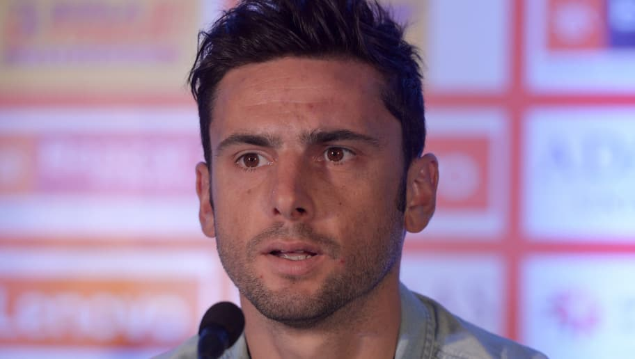 Portuguese player for football team Atletico de Kolkata Helder Postiga looks on during a press conference in Kolkata on September 25, 2015. The second edition of the eight-team Indian Super League football tournament kicks off on October 3.  AFP PHOTO / Dibyangshu SARKAR        (Photo credit should read DIBYANGSHU SARKAR/AFP/Getty Images)