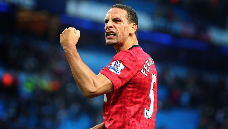 MANCHESTER, ENGLAND - DECEMBER 09:  Rio Ferdinand of Manchester United celebrates at the end of the Barclays Premier League match between Manchester City and Manchester United at Etihad Stadium on December 9, 2012 in Manchester, England.  (Photo by Clive Mason/Getty Images)