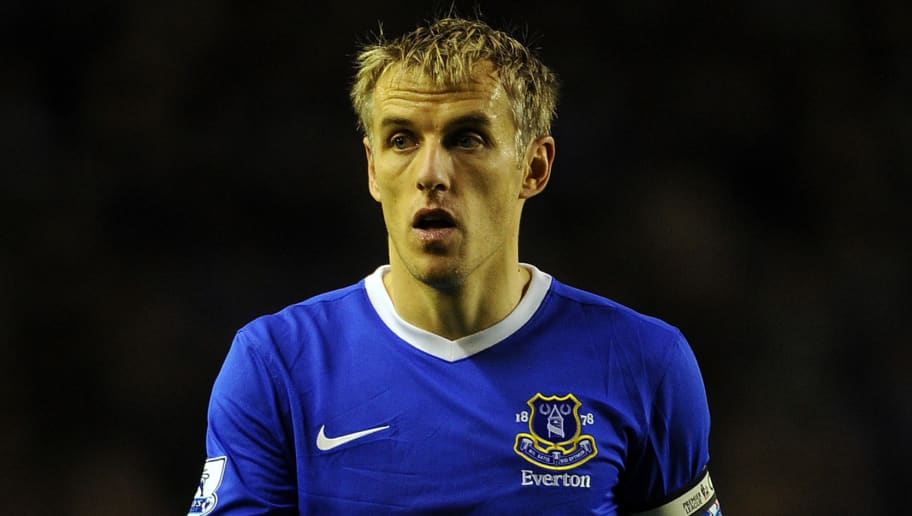 LIVERPOOL, ENGLAND - DECEMBER 26: Phil Neville of Everton looks on during the Barclays Premier League match between Everton and Wigan Athletic at Goodison Park on December 26, 2012 in Liverpool, England.  (Photo by Chris Brunskill/Getty Images)
