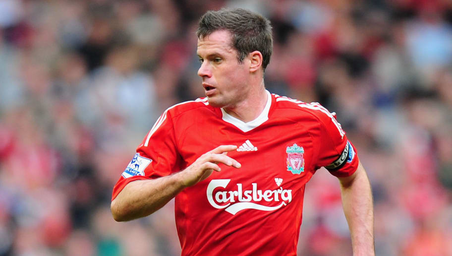 LIVERPOOL, UNITED KINGDOM - OCTOBER 25:   Jamie Carragher of Liverpool in action during the Barclays Premier League match between Liverpool and Manchester United at Anfield on October 25, 2009 in Liverpool, England. (Photo by Clive Mason/Getty Images)