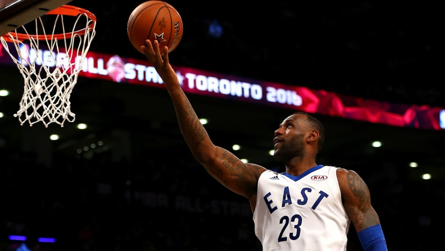 TORONTO, ON - FEBRUARY 14: LeBron James #23 of the Cleveland Cavaliers and the Eastern Conference drives to the basket in the first half against the Western Conference during the NBA All-Star Game 2016 at the Air Canada Centre on February 14, 2016 in Toronto, Ontario. NOTE TO USER: User expressly acknowledges and agrees that, by downloading and/or using this Photograph, user is consenting to the terms and conditions of the Getty Images License Agreement.  (Photo by Elsa/Getty Images)