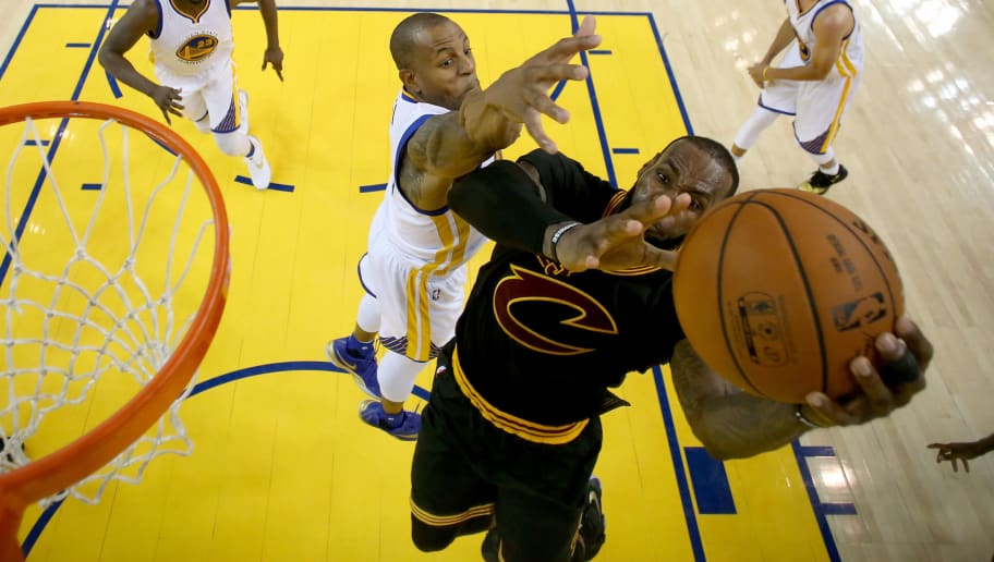 OAKLAND, CA - JUNE 19:  Andre Iguodala #9 of the Golden State Warriors defends LeBron James #23 of the Cleveland Cavaliers in Game 7 of the 2016 NBA Finals at ORACLE Arena on June 19, 2016 in Oakland, California. NOTE TO USER: User expressly acknowledges and agrees that, by downloading and or using this photograph, User is consenting to the terms and conditions of the Getty Images License Agreement.  (Photo by Ezra Shaw/Getty Images)