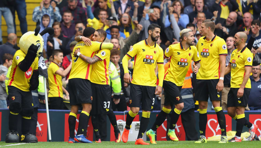 WATFORD, ENGLAND - SEPTEMBER 18:  Troy Deeney of Watford celebrates scoring his sides third goal with his team mates during the Premier League match between Watford and Manchester United at Vicarage Road on September 18, 2016 in Watford, England.  (Photo by Richard Heathcote/Getty Images)