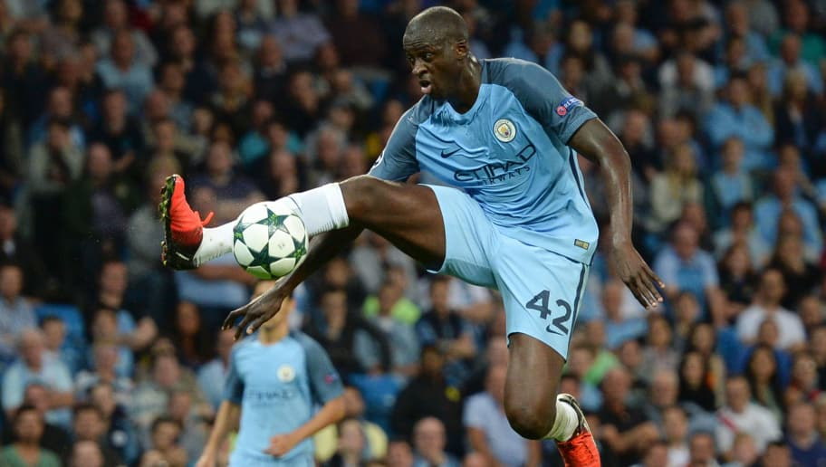 Manchester City's Ivorian midfielder and captain Yaya Toure controls the ball during the UEFA Champions league second leg play-off football match between Manchester City and Steaua Bucharest at the Etihad Stadium in Manchester, north west England on August 24, 2016. / AFP / OLI SCARFF        (Photo credit should read OLI SCARFF/AFP/Getty Images)
