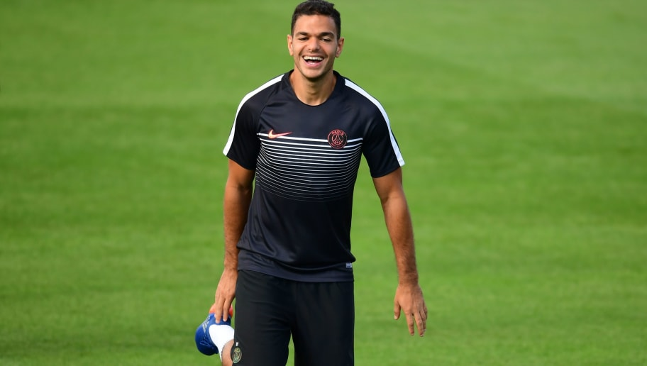 (LtoR) Paris Saint-Germain's forward Atem Ben Arfa takes part in a training session on the eve of the UEFA Champions League football match  Paris-Saint Germain vs Arsenal, on September 12, 2016 at the Ooredoo training centre in Saint-Germain-en-Laye, outside Paris. / AFP / FRANCK FIFE        (Photo credit should read FRANCK FIFE/AFP/Getty Images)