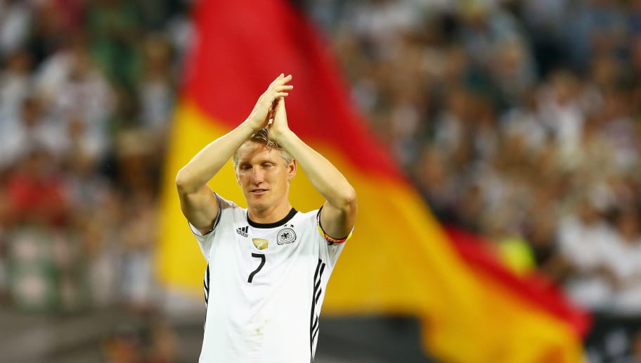 MOENCHENGLADBACH, GERMANY - AUGUST 31:  Bastian Schweinsteiger of Germany acknowledges the crowd after his last international match during the International Friendly match between Germany and Finland at Borussia-Park on August 31, 2016 in Moenchengladbach, Germany.  (Photo by Lars Baron/Bongarts/Getty Images)