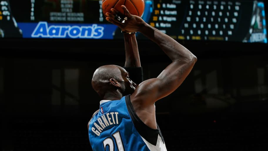 ATLANTA, GA - NOVEMBER 09:  Kevin Garnett #21 of the Minnesota Timberwolves attempts a shot against the Atlanta Hawks at Philips Arena on November 9, 2015 in Atlanta, Georgia.  NOTE TO USER User expressly acknowledges and agrees that, by downloading and or using this photograph, user is consenting to the terms and conditions of the Getty Images License Agreement.  (Photo by Kevin C. Cox/Getty Images)