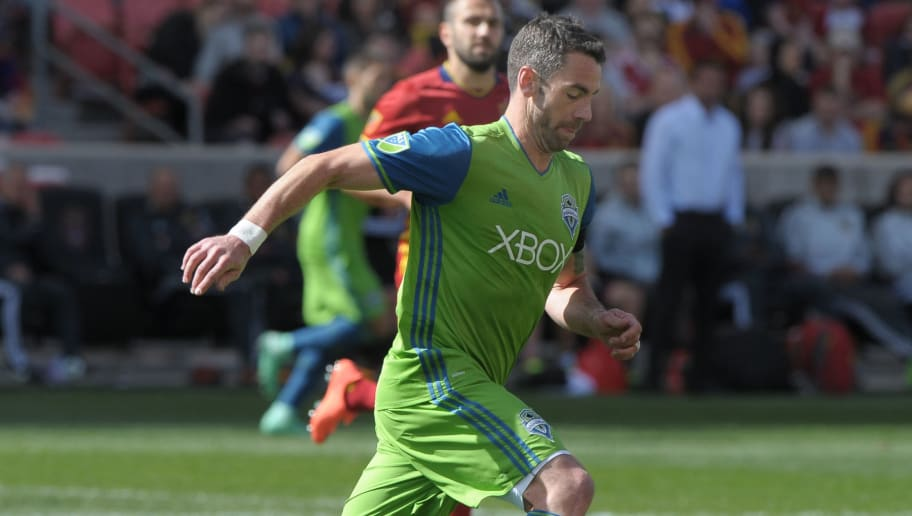 SANDY, UT - MARCH 12: Zach Scott #20 of Seattle Sounders FC dribbles the ball in the game against Real Salt Lake at Rio Tinto Stadium on March 12, 2016 in Sandy, Utah. (Photo by Gene Sweeney Jr/Getty Images)