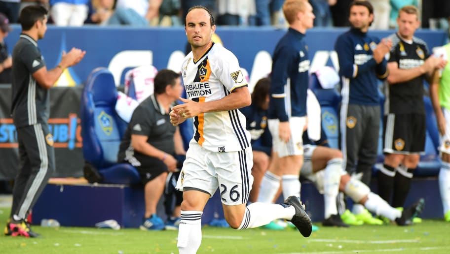 CARSON, CA - SEPTEMBER 11:  Landon Donovan #26 of the Los Angeles Galaxy enters the game against Orlando City FC returning from retirement at StubHub Center on September 11, 2016 in Carson, California.  (Photo by Harry How/Getty Images)