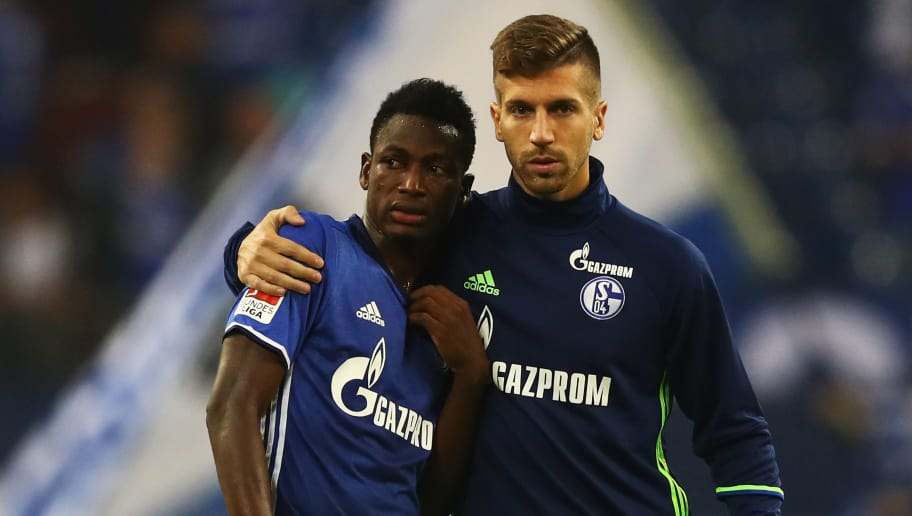 GELSENKIRCHEN, GERMANY - SEPTEMBER 21:  Baba Rahman and Matija Nastasic of Schalke looks dejected after defeat during the Bundesliga match between FC Schalke 04 and 1. FC Koeln at Veltins-Arena on September 21, 2016 in Gelsenkirchen, Germany.  (Photo by Dean Mouhtaropoulos/Bongarts/Getty Images)